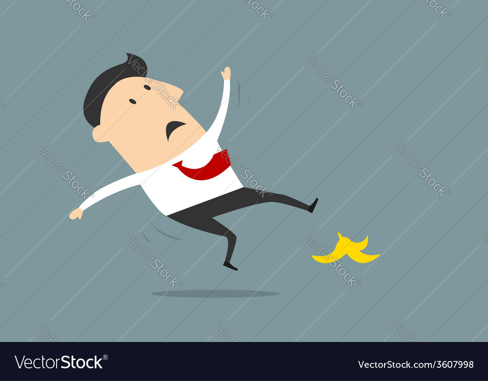 Businessman slipping on banana peel in flat style vector   Price: 1 Credit (USD $1)