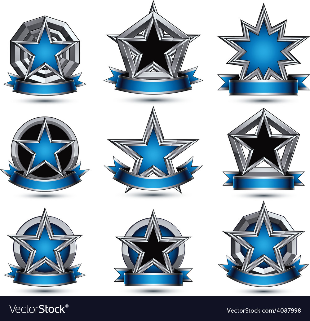 Collection of gray round heraldic 3d glamorous vector | Price: 1 Credit (USD $1)