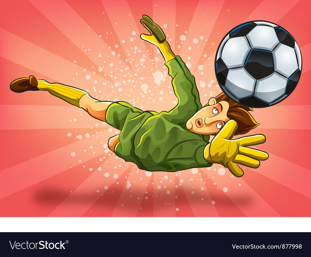 Goalkeeper jump catch a ball vector | Price: 3 Credit (USD $3)