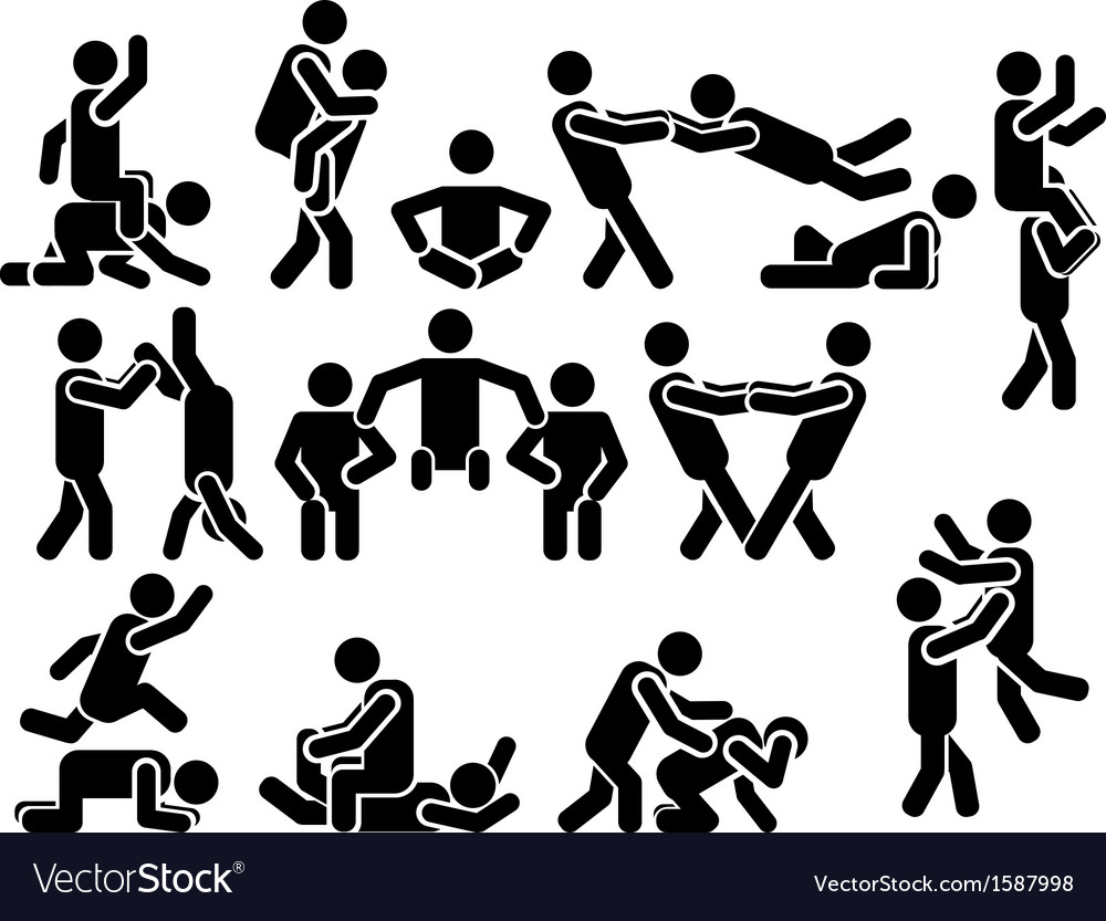 Icon man various positions vector | Price: 1 Credit (USD $1)