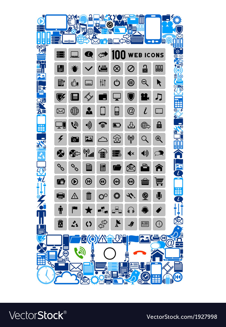 Mobile phone of icons vector | Price: 1 Credit (USD $1)