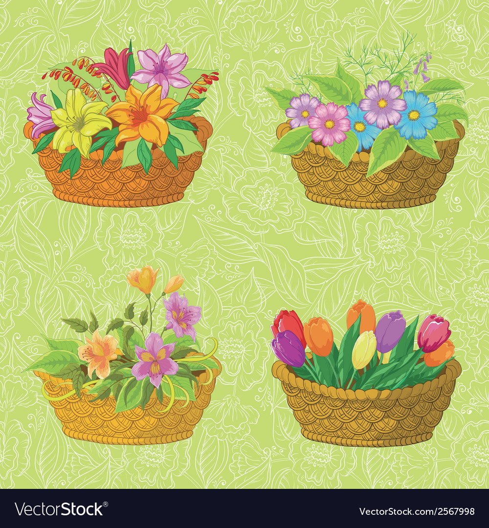 Seamless floral pattern baskets with flowers vector | Price: 1 Credit (USD $1)
