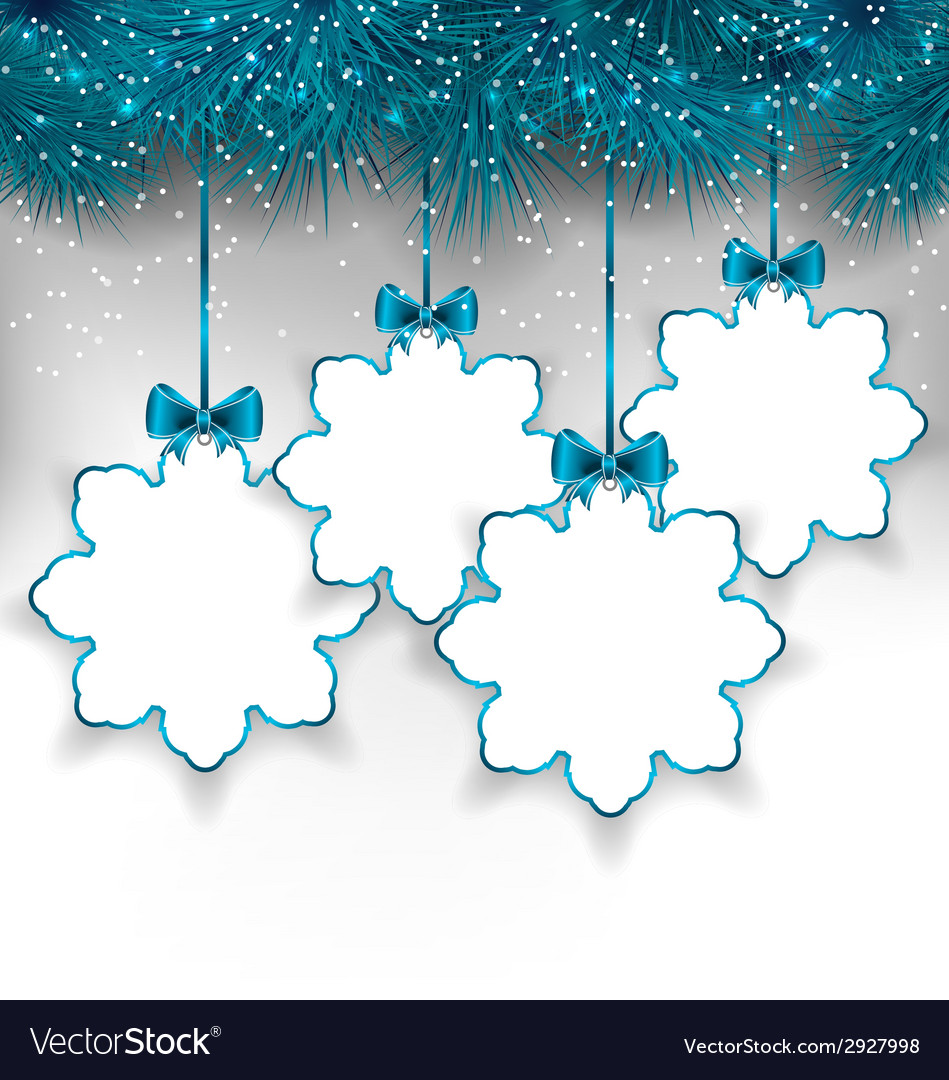 Set christmas paper snowflakes with copy space for vector | Price: 1 Credit (USD $1)