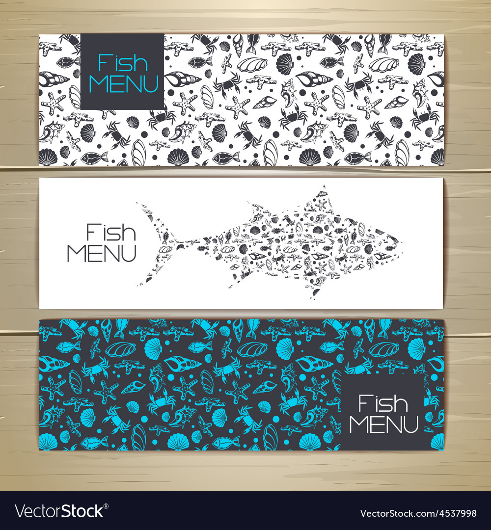 Set of fish seafood banners document template vector | Price: 1 Credit (USD $1)