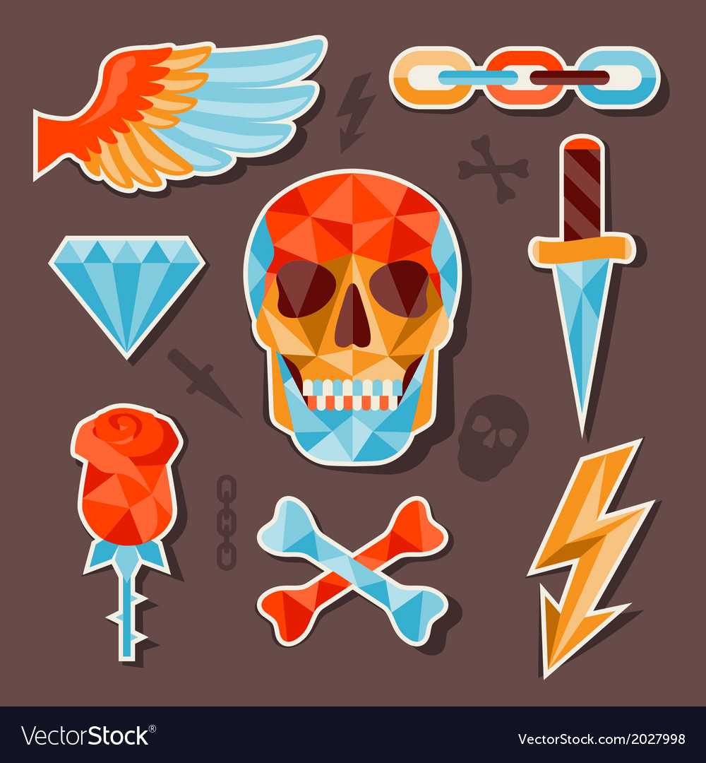 Stickers skull and elements for design vector | Price: 1 Credit (USD $1)