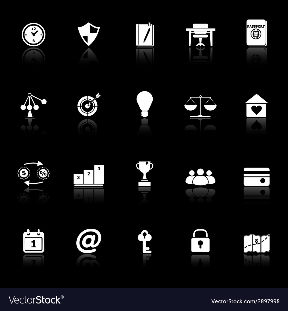 Thinking related icons with reflect on black vector | Price: 1 Credit (USD $1)