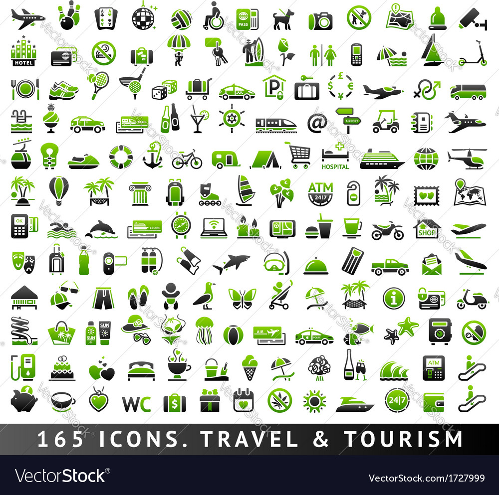 165 bicolor icons travel and tourism vector | Price: 1 Credit (USD $1)