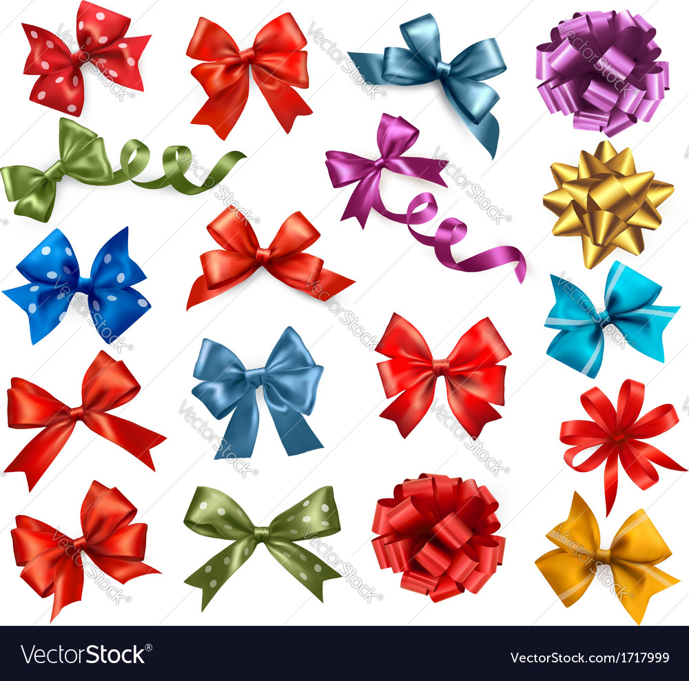 Big collection of color gift bows with ribbons vector | Price: 1 Credit (USD $1)