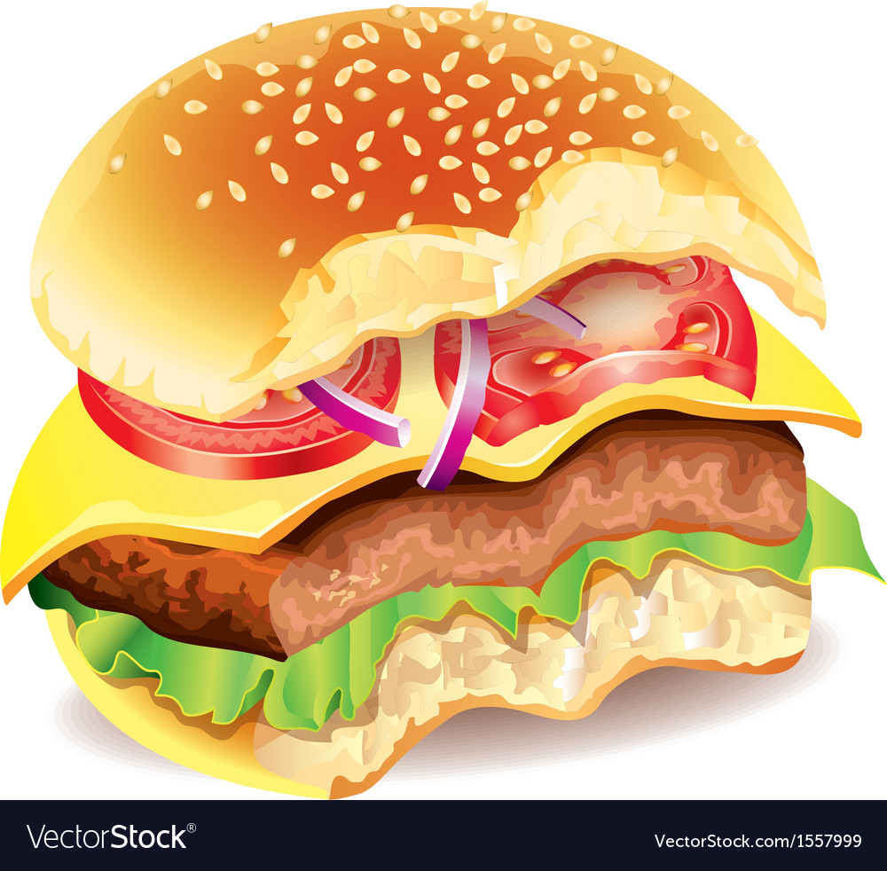 Bitten hamburger photo realistic vector | Price: 1 Credit (USD $1)