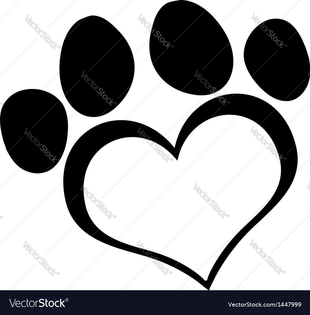 Black love paw print vector | Price: 1 Credit (USD $1)