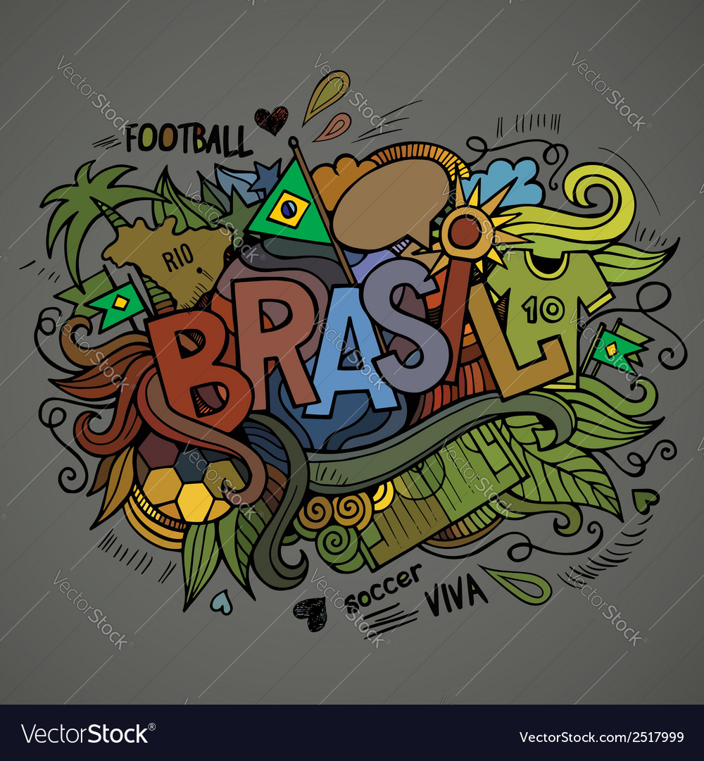 Brasil summer hand lettering vector | Price: 1 Credit (USD $1)