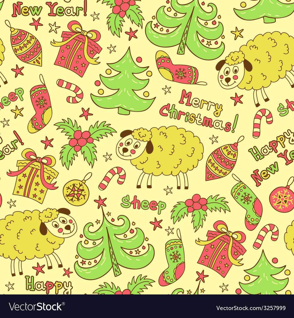 Christmas seamless pattern elements with sheep vector | Price: 1 Credit (USD $1)