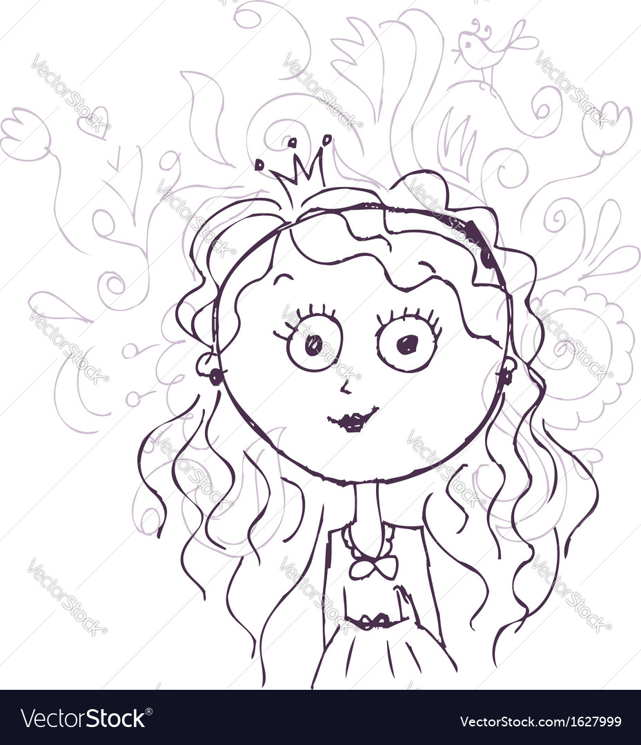 Funny little princess sketch for your design vector | Price: 1 Credit (USD $1)