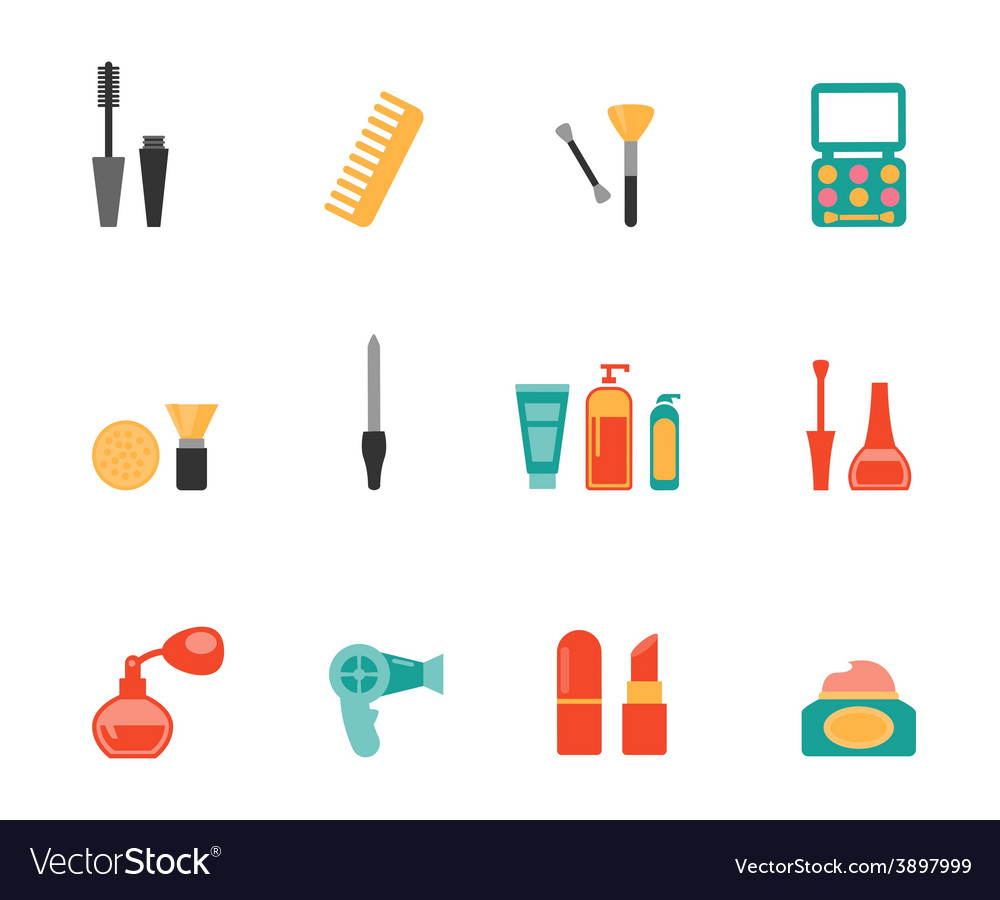 Hairstyling and makeup flat icons vector | Price: 1 Credit (USD $1)