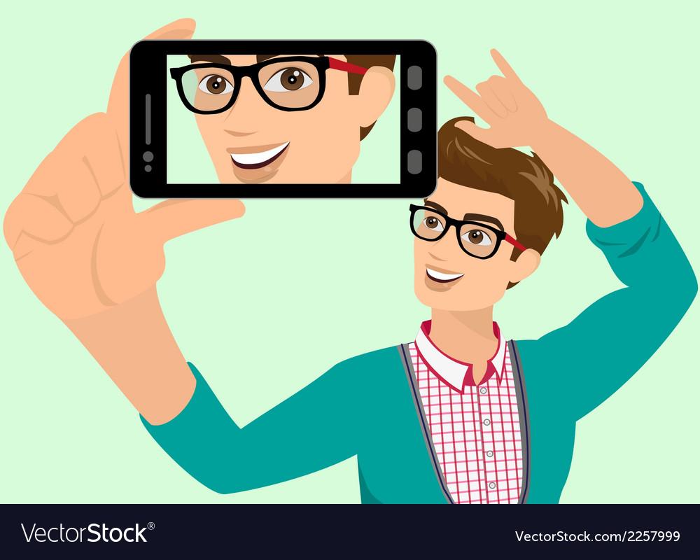 Happy guy is taking selfie vector | Price: 1 Credit (USD $1)