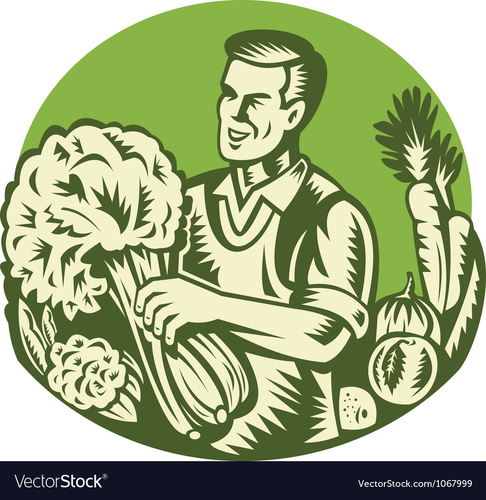 Organic farmer green grocer vegetable retro vector | Price: 1 Credit (USD $1)