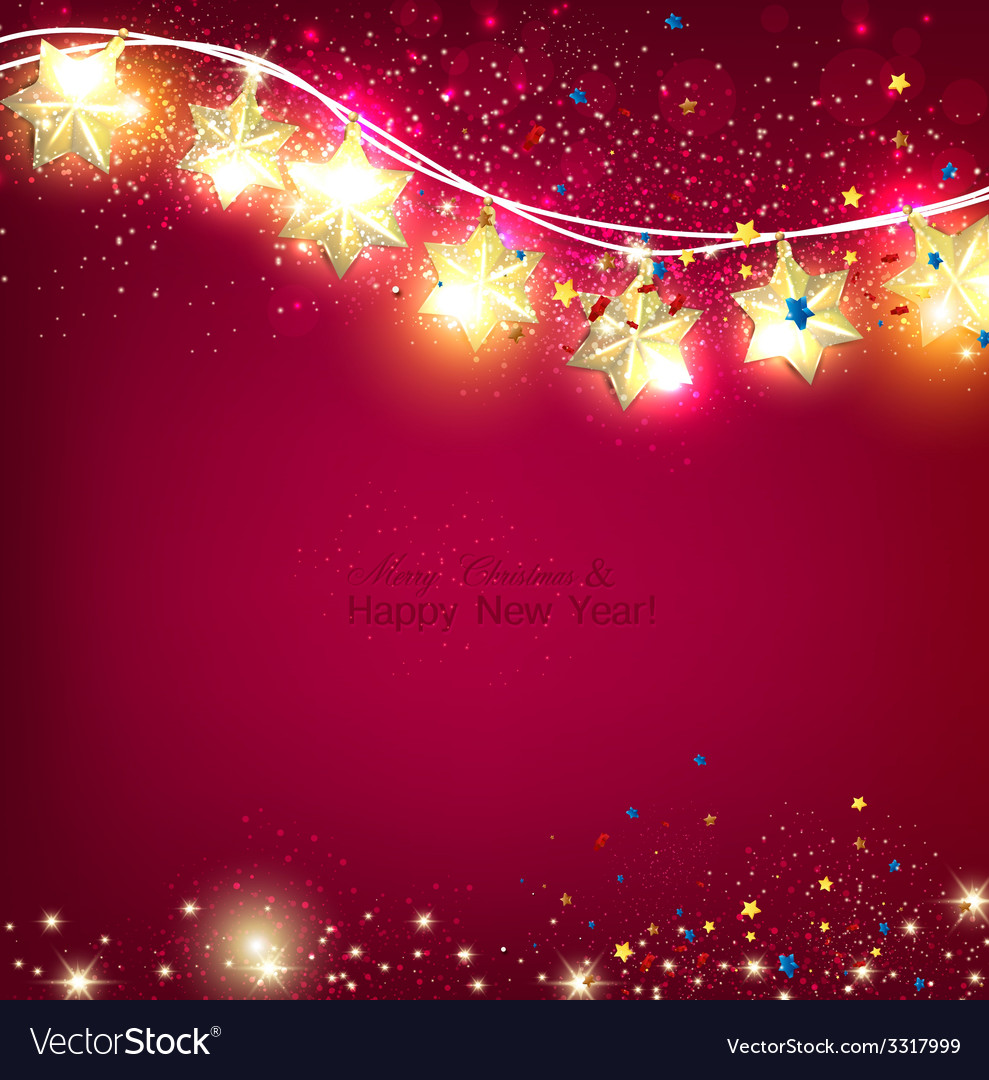 Red christmas background with luminous garland vector | Price: 3 Credit (USD $3)