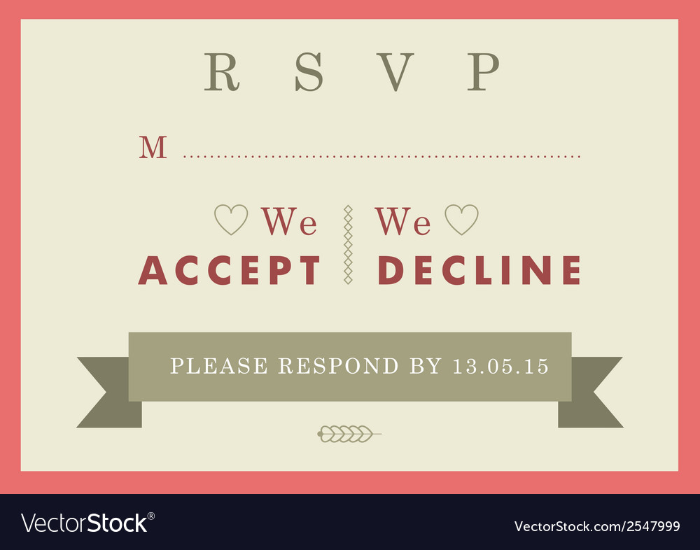 Rsvp wedding card red badge theme vector | Price: 1 Credit (USD $1)