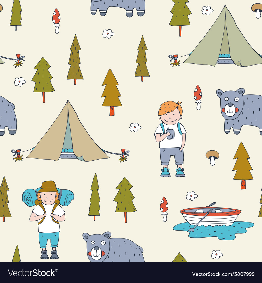 Seamless pattern with scout boys in the forest vector | Price: 1 Credit (USD $1)