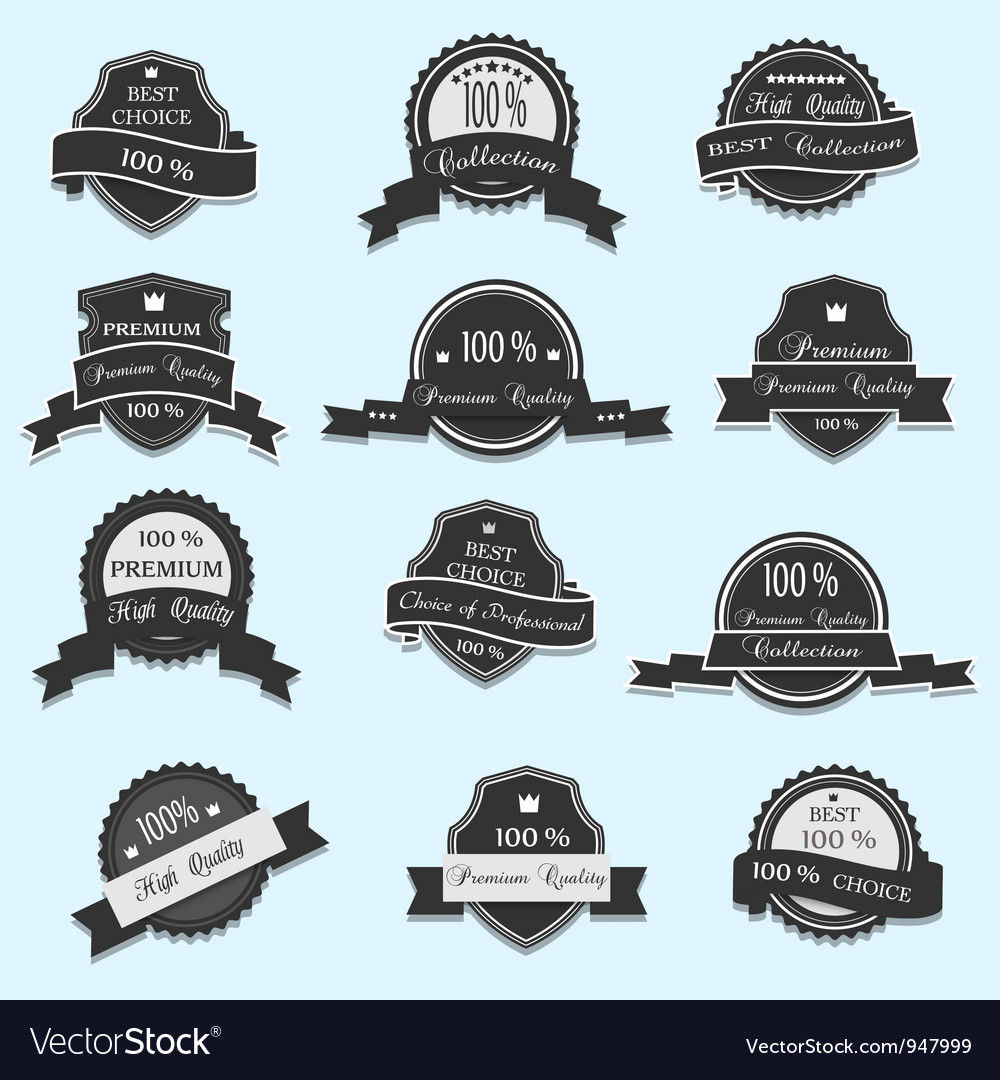 Set of 12 premium quality labels vector | Price: 1 Credit (USD $1)