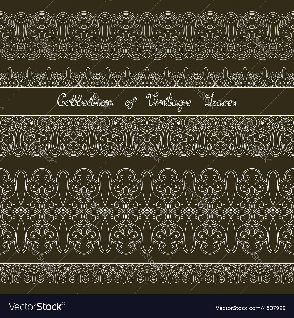 Set of vintage template with ornate laces vector | Price: 1 Credit (USD $1)