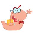 Pink worm vector