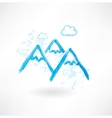 Mountains grunge icon vector
