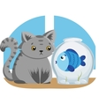 Gray cat and blue fish vector