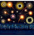 Fireworks in the night city vector