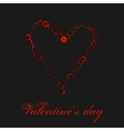 Watercolor red heart isolated on black background vector