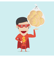 Super money man for business and finance concept vector