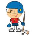 Boy playing hockey goalie vector