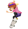 An energetic young lady skating vector