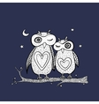 Two cute decorative owls vector