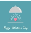 Silver platter cloche and pink shining heart flat vector