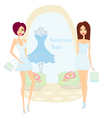 Fashion girls shopping - summer shopping sale vector