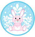 Pink rabbit on a winter background vector