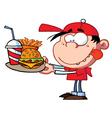 Boy eating fast food vector