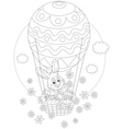 Easter bunny flying in a balloon vector
