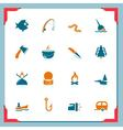 Fishing icons - in a frame series vector