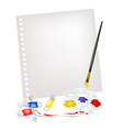 Paint tubes in palette with brush on blank page vector