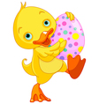 Easter duckling carry egg vector