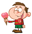 Little boy with strawberry ice cream vector