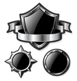 Set of steel glossy shields isolated on white vector