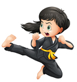 A brave girl doing karate vector