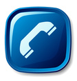 Blue telephone receiver button vector