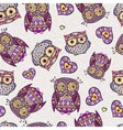 Seamless pattern with decorative owl vector
