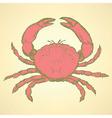 Sketch cute crab in vintage style vector