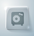 Bank vault glass square icon with highlights vector