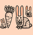 Rabbits and big carrot vector